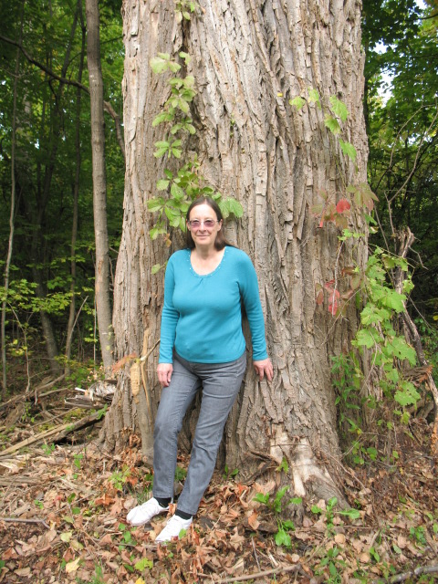 Nancy with a big tree.