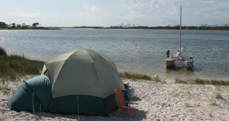 camping on the spoil island